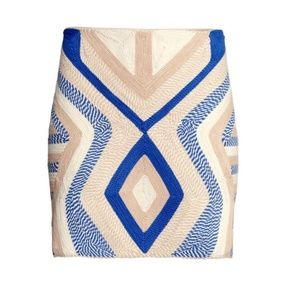 H&M blue and white rope mini skirt